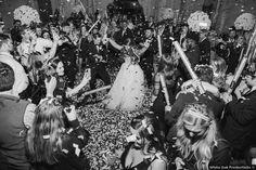 Black and white fun wedding photography, dance floor photos