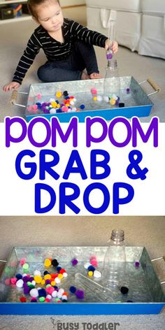 Super Easy Pom Pom Grab & Drop Want a quick and easy toddler activity? Try this Pom Pom Grab and Drop - the fastest way to entertain a toddler. A seriously easy indoor activity. Quiet Time Activities, Toddler Learning Activities, Montessori Toddler, Toddler Play, Infant Activities, Preschool Activities, Fine Motor Activities For Kids, Toddler Sensory Bins, Activities For 2 Year Olds
