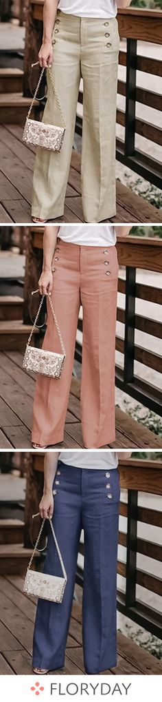 Straight Pants & Leggings - How To Be Trendy Fashion Pants, Look Fashion, Fashion Outfits, Womens Fashion, Trousers Women, Pants For Women, Clothes For Women, Casual Outfits, Cute Outfits