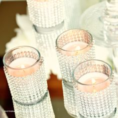 Votives- plain votives with rhinestone ribbon - Soon Pretty :-)