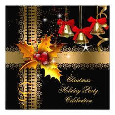 Christmas Holiday Party Red Black Gold Holly Announcement Custom Invitations by Zizzago.com