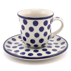 Espresso Cup with Saucer 2.7 oz (80 ml) White Polka Dot