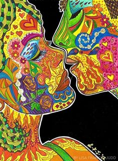 Just Before (the Kiss) by Lisa Frances Judd – Lisa Frances Judd Visual Artist – art therapy activities Hippie Painting, Trippy Painting, Matte Painting, Arte Do Galo, Photowall Ideas, Arte Indie, Psychadelic Art, Art Therapy Activities, Hippie Art