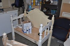 Three different benches under construction, and how they all turned out! Repurposed headboards, cribs turned into benches - Cassandra Design: The Other Three Benches Revealed !!!