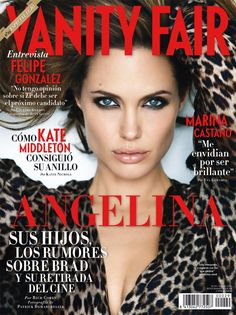 American actress Angelina Jolie is wild and seductive on the cover pages of Vanity Fair Spain January 2011 issue. Photographed by Patrick Demarchelier, Angelia poses in a leopard print fall overcoat. V Magazine, Vanity Fair Magazine, Fashion Magazine Cover, Fashion Cover, Magazine Covers, Magazine Layouts, Angelina Jolie, Jolie Pitt, Vogue Korea