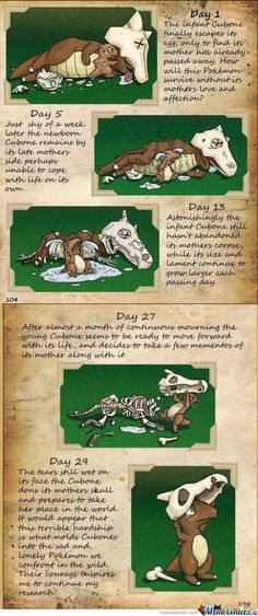 Omg SO sad... Story Of Cubone. They always made theory's about how the mother died, maybe it dies after laying eggs like some octopus or spider.