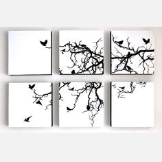 Could make my own version <3 this  Bird Tree Birch Panel Set Horiz by Kyle & Courtney Harmon