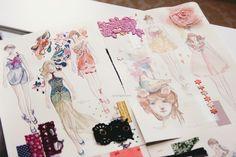 via Quiet Girl: Fashionary Exhibition Hong Kong - Beijing Fashion Sketchbook, Fashion Sketches, Fashion Illustrations, Fashion Drawings, Croquis Fashion, Illustration Mode, Fashion Figures, Technical Drawing, Fashion Art