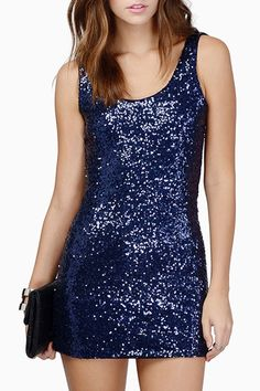 Hollow Back Sequined Club Dress