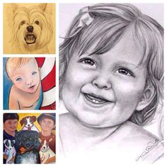 "It's that time again....  I know it's too early to start singing ""Jingle Bells"" but if you're looking for a one of a kind gift, I'm your girl! Custom portraits in --- pencil, colored pencil, pop-art style paintings of children, furr babies or anyone srices start at $75 - Pencil Single Person 9x12 and go up from there."