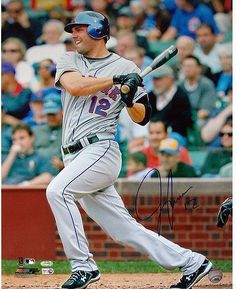 Jeff Francoeur NY Mets Grey Jersey Swing Vertical 16x20 Photo (MLB Auth)