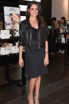 At a Sephora launch in 2016, Meghan went back to black in an LBD and leather jacket.