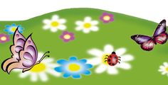 Bordüre: bunte Blumenwiese mit Schmetterlingen u. kleinen Marienkäferchen • Mein Bordürenladen - Dawanda • www.meinborduerenladen.de