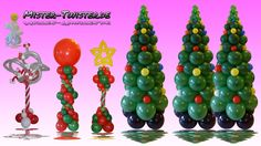 169  Balloon Christmas Tree Column Decoration, Ballon Weihnachtsbaum Anleitung Dekoration