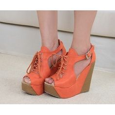 Orange Roman Lace up wedges