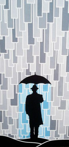"""I'm Only Happy When it Rains'"""" Fine Art Painting Print of 100 -- Art Deco - Modern Style - Magritte - Grey & Blue by ArtworksofRobCropper, $25.00"""