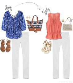 Love white jeans with bright tops