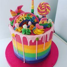 Cake Decorating, Birthday Cake, Rainbow, Candy, Desserts, Food, Rain Bow, Tailgate Desserts, Rainbows