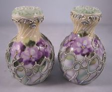 Pretty Antique Nippon Moriage Salt and Pepper Shaker with Purple Pansies