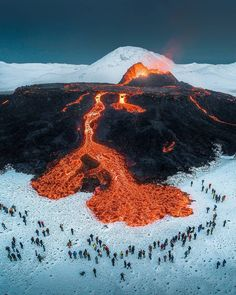 """Arnar Kristjansson   Iceland on Instagram: """"New wonders being born in front of our eyes , people enjoying the show in the line of fire , absolutely normal here 🙃🌋 . #iceland…"""" Beautiful World, Beautiful Images, Volcano Photos, Photography Sites, Photography Music, Nature Adventure, Adventure Awaits, Wild Nature, The Guardian"""