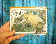 Keeyah! Raccoon watercolor by lithuanian artist Agne Latinyte (aka yuujin, yuujinaga) on Etsy shop