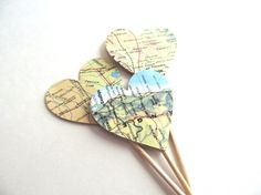 Vintage Map Heart Cupcake Toppers  15 double-sided vintage map heart party picks, cupcake toppers  Heart measures 1.5 (3.8 cm) across  Height of toothpick and heart is 3.5 (8.9 cm)  All picks are handmade and packaged in an eco-friendly glassine bag  Made in a smoke-free/pet-free home  See all map items here: https://www.etsy.com/shop/CatchSomeRaes/search?search_query=map&order=date_desc&view_type=gallery&ref=shop_search  Click her...