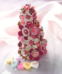 Better than a bouquet! DIY easy Paper Flowers & Buttons Tree for Valentine's Day. CraftsnCoffee.com.