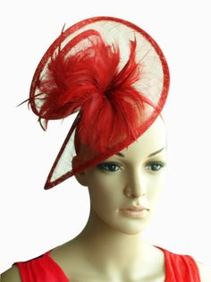 RED SINAMAY SWIRL HAT FASCINATOR FEATHERS RACES WEDDING MILLINERY