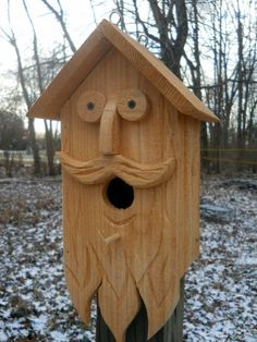 Birdhouse,wood spirit carvings. Folk art primitives whimsical  Bird house.