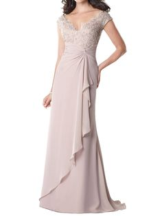 chiffon short sleeve v-neck lace bodice floor length a-line mother of the bride dress