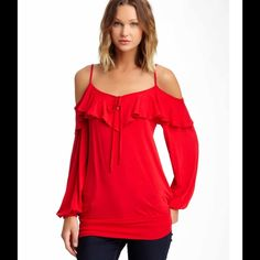 Voom by Joy Han. Such a gorgeous red!  Cold shoulder top.  Brand new, still in the plastic cover hanging on a hanger...I've never even taken it out.  Price is firm but worth it!  Voom Tops Tees - Long Sleeve