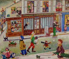 Noel devant chez Polidor - Huile sur toile - 46 x 55 cm. Claude, Painting, Noel, Oil On Canvas, Board, Painting Art, Paintings, Drawings