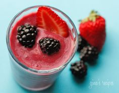 Triple Berry Smoothie: Gina's Weight Watcher Recipes -Servings: 2 • Serving Size: 1 cup • Old Points: 1 pt • Points+: 2 pt. Calories: 68.4 • Fat: 0.4 g • Protein: 3.3 g • Carb: 12.9 g • Fiber: 3.1 g. Ingredients:   1/2 cup blackberries and raspberries, 5 medium strawberries, 1 cup crushed ice, 6 oz WW berries and cream nonfat yogurt. Directions: Put all ingredients in a blender and blend until smooth. Serve with a straw.