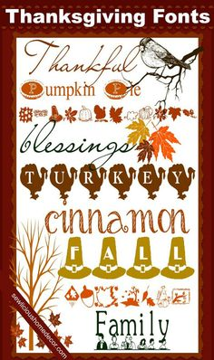 Use these Free Best Thanksgiving Fonts to make table place cards, printables, crafts,and more!  sewlicioushomedecor.com