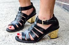 Cut-out sandals and red toes. So cute.
