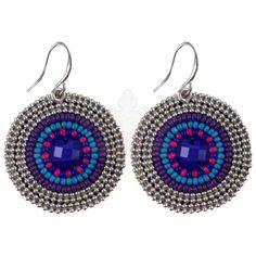 Gypsy Soule Silver Purple and Blue Seed Bead Earrings DE546