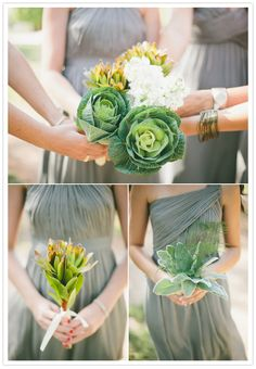 Completely unique wedding colors!  Beautiful mixing of grey and greens with use of traditional flowers and trendy succulents.