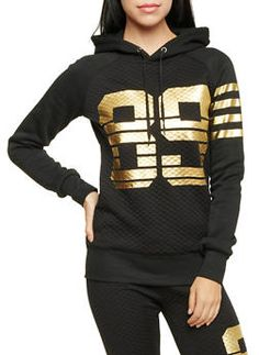 Quilted Hoodie with Gold Foil Print - 1056038344400