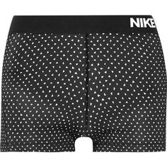 Nike Pro Cool Dri-FIT printed stretch-jersey shorts ($30) ❤ liked on Polyvore featuring activewear, activewear shorts, black, stretch jersey, nike, nike activewear and nike sportswear