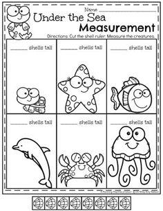Measurement Worksheets for Kindergarten Math - Under the Sea Ruler #kindergartenmath #measurement #mathworksheets #kindergartenworksheets #measurementworksheets