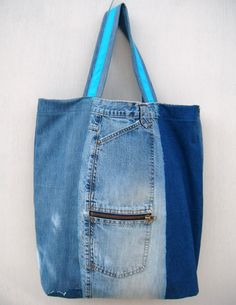 Destressed Repurposed Patchwork Denim Tote Bag