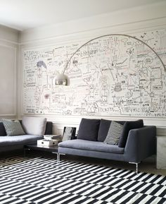 Light fixture office Arco Floor Lamp, Floor Lamps, Striped Rug, Office Art, Contemporary Interior, Doodle Wall, Navy Sofa, Ikea Stockholm, Wall Drawing