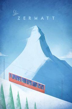 Vintage Ski Poster - Art Print - Illustration by Henry Rivers
