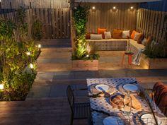 Veilig met licht van In-lite Small City Garden, Small Garden Design, Bollard Lighting, Outdoor Lighting, Raised Planter Boxes, Backyard Paradise, Small Backyard Landscaping, Backyard Ideas, Exterior