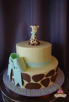 gender neutral giraffe baby shower cakes - Google Search