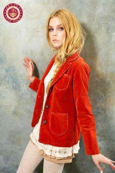 Womens Fashion Vintage Washed Corduroy Blazers (Orange/Kaki/Blue)  elfsacks