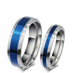 316L Stainless Steel Cincin Jari pria pernikahan band perhiasan biru 4mm wanita titanium baja cincin untuk kekasih Biru Stainless cincin