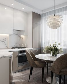 We LOVE this contemporary glass kitchen. Use our beautiful RAUVISIO crystal surfaces in your home: Kitchen Room Design, Modern Kitchen Design, Dining Room Design, Home Decor Kitchen, Kitchen Interior, Home Kitchens, Küchen Design, Apartment Kitchen, Interior Design Living Room
