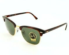 New Ray Ban RB3016 W0366 CLUBMASTER Tortoise Havana Gold Frame 51mm