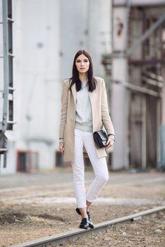 camel coat, sweater, skinny denim, oxford